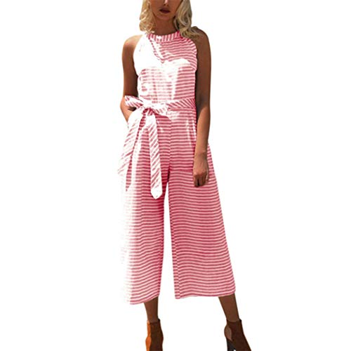 Sale!! Trendy Women Sleeveless Striped Jumpsuit Casual Loose Trousers Fashionable Leotard Catsuit Combinaison Wide Leg Pants(Pink,L)
