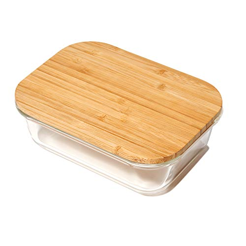 Greener Chef Contenedores de vidrio para almacenamiento de alimentos con tapas de bambú (2260 ml)