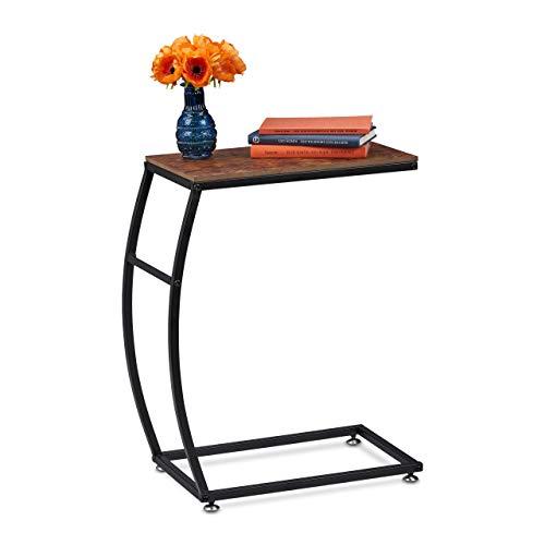 Relaxdays Beistelltisch Industrial Design, C-Form, HBT 58,5 x 47,5 x 25 cm, Tisch für Couch & Bett, Metall & MDF, braun