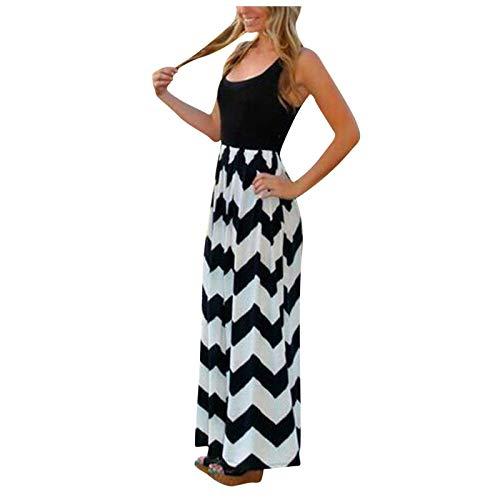 Yowablo Kleid Frauen gestreift Lang Boho Kleid Lady Beach Sommer Sommerkleid Maxikleid Plus Size (XL,7Schwarz)