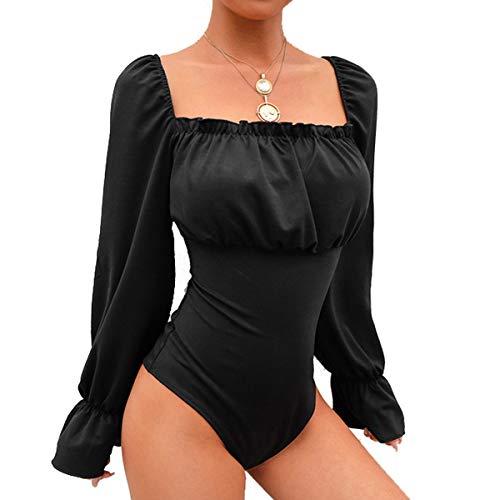 Galy Body Sexy de Corte bajo con Mangas abullonadas Jumpsuit Wrap Body (Color : Black, Size : L)