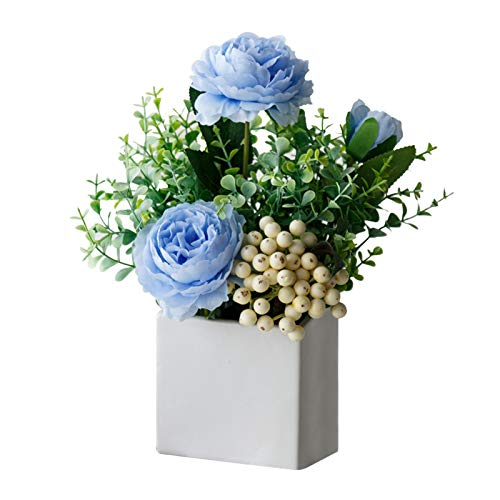 Lvjkes Flores Artificiales con Florero, Flores Artificiales Bonsai, Flor Artificial para Decoracion, Exquisita Ramo de Flores de Seda para Mesa Casa Oficina Escritorio Cocina Habitación (Azul)