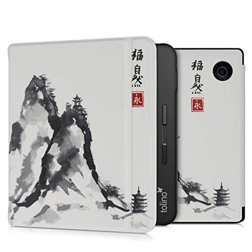 kwmobile Hülle kompatibel mit Tolino Vision 5 - Kunstleder eReader Schutzhülle - Chinesische Malerei Natur Rot Schwarz Weiß