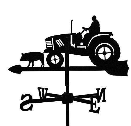Svenska Metall Deko Wetterfahne Traktor Schwarz Kleines Format