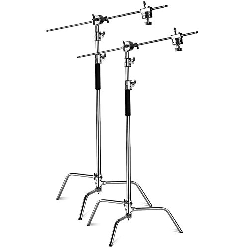 Neewer C-stand Support d'Eclairage - Lot de 2 Trépied de Réflecteur 3m Pied Support Réglable Robuste avec 1,2m Bras Girafe et Rotules pour Réflecteur Flash Studio etc.