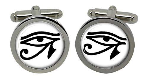 Eye of horus hommes boutons de manchette avec boite cadeau chrome