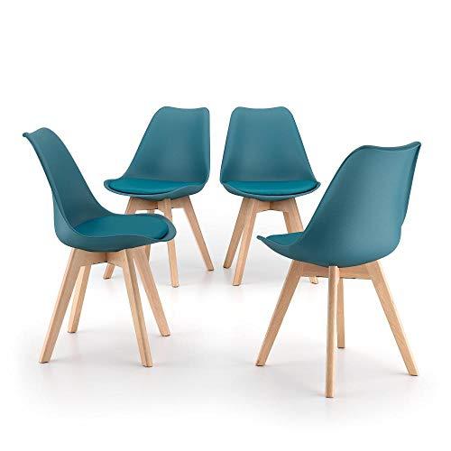 Mobili Fiver, Sedie in Stile Nordico Greta, Set da 4, Blu Petrolio, Polipropilene - Multistrato di Faggio, Disponibile in Vari Colori
