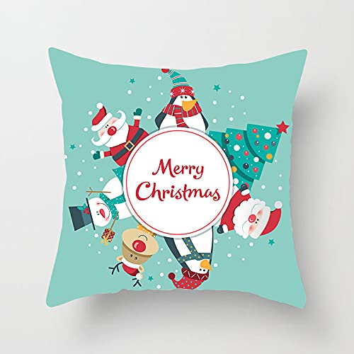 MissW Funda De Almohada Decorativa Blue Fresh Christmas Series Sin Núcleo De Almohada con Funda De Cojín con Cremallera Adecuada para Sofá De Dormitorio