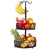 Alzata per frutta in metallo con supporto a banana, cestino per frutta, 30 cm, decorazione vintage per la conservazione della frutta, da cucina, cestino per frutta (nero)
