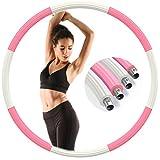Aoweika Hula Hoop Reifen Erwachsene 1.3kg, Aktualisiert Edelstahl Gewicht Metall Fitness Sport Hula Hoop zur Gewichtsreduktion Stabil Hoola Hoop Reifen zum Abnehmen - Rosa & Weiß (Patentschutz)