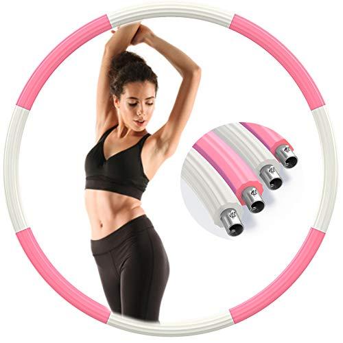 Aoweika Hoola Hoop Reifen Erwachsene 1.3kg, Aktualisiert Edelstahl Gewicht Metall Fitness Sport Hoola Hoop zur Gewichtsreduktion Stabil Hoola Hoop Reifen zum Abnehmen - Rosa & Weiß (Patentschutz)