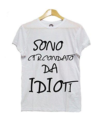 Tshirt Uomo Sono CIRCONDATO da IDIOTI - Ignoranza - Tshirt Virali - Magliette con Scritte - Scritte Divertenti