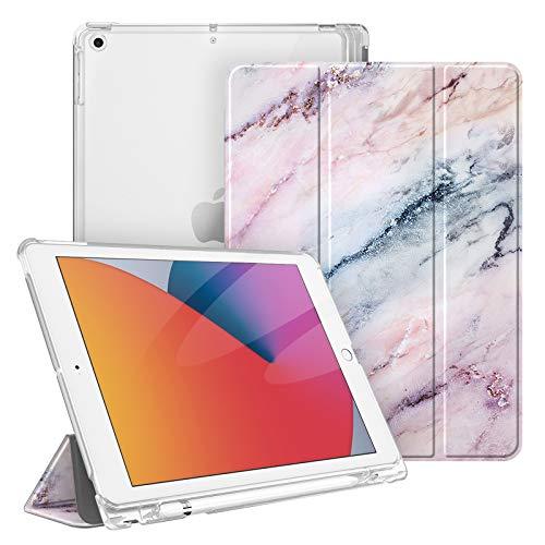 Fintie Hülle für iPad 8. Generation (2020) / 7. Gen (2019) 10.2 Zoll mit Pencil Halter, Superdünn Leichte Schutzhülle mit durchsichtiger Rückseite Abdeckung mit Auto Schlaf/Weck, Marmor Rosa
