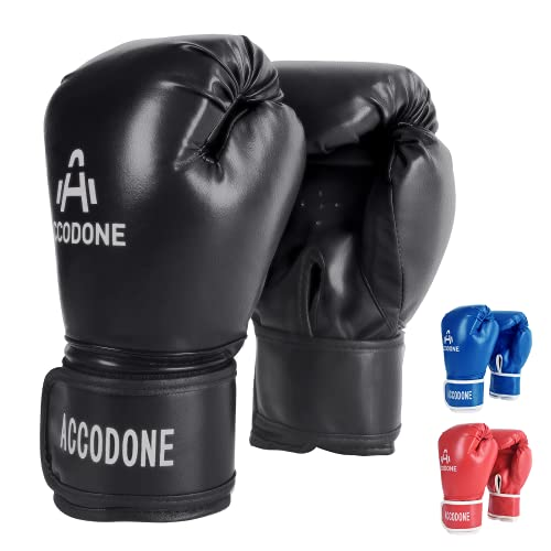ZILINGO Boxhandschuhe Erwachsene Muay Thai Boxsack Kickboxen Training Sparring Sandsack Boxing Gloves, Boxen Punchinghandschuhee für Boxen, Kickboxen, Sparring, Training mit Boxsack (Schwarz)