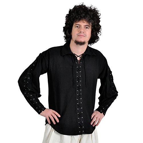 Moyen geschnürten chemise de pirate pour homme en coton avec manches pour moyen-noir-viking moyenâgeuse Taille XXXL