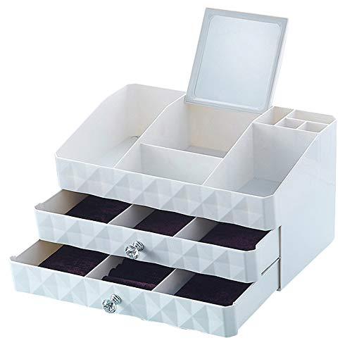 Storage Box Boîte de Rangement Cosmétique de Bureau, Plateau Bijoux de Grande Capacité Cosmétique Cas, Empilables Tiroir Cosmétiques Boîte de Rangement - Blanc