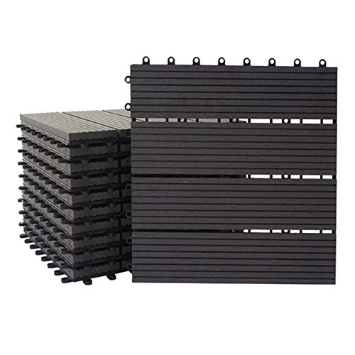 Mendler WPC Bodenfliese Rhone, Holzoptik Balkon/Terrasse, 11x je 30x30cm = 1qm ~ Premium, anthrazit linear
