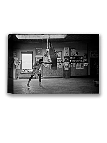 "Funny Ugly Christmas Sweater Muhamm Ali Boxing Monochrome Photo Decor Sport Gym Muhamm Ali Canvas Prints Iconic Boxer Ali Art Ready to Hang Black and White Pictures 8"" x 12"""