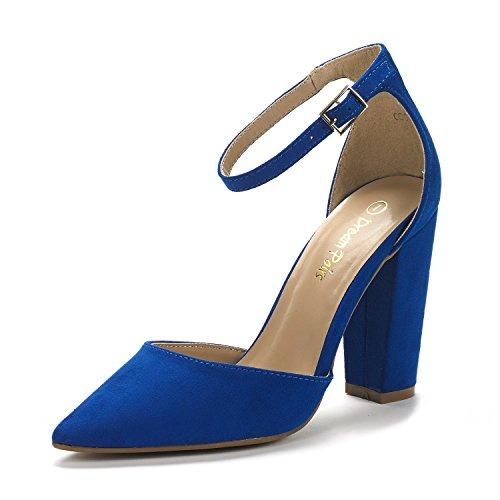 DREAM PAIRS Women's Coco Royal Blue Mid Heel Pump Shoes - 7.5 M US