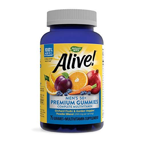 Nature's Way Alive! Men's 50+ Premium Gummy Multivitamin, Full B-Vitamin Complex, 75 Gummies