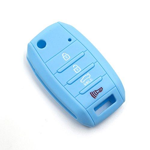 LIGHTKOREA 4Button Silicone FOB Folding Key Case Cover for Kia Optima Cerato Forte Rondo Carens Soul Sportage Rio Picanto (Light Blue)