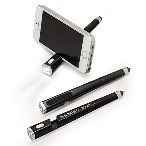 Mopec Stylo Lampe Torche, pointeur et BORRA Empreinte et avec Support pour téléphone Portable, Noir, 1.5 x 1.5 x 14 cm, 5 unités