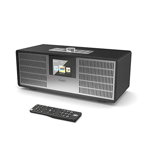 Majority Sidney Internet WiFi, Radio Digital Dab/Dab+/FM, Bluetooth, Control Remoto, USB, Entrada Auxiliar, Alarma Dual, Control de Aplicaciones (Negro)