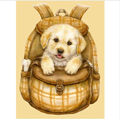 XZHYMJ 5D Diamond Art Accessories 3D DIY Round Hand Made Diamond Embroidery Painting Cross Stitch Kits Wall Mosaic Dog in A Backpack Home Decor 30x40cm
