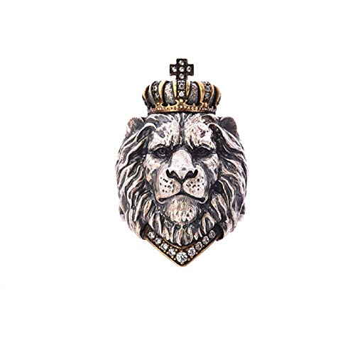 Lion Head Ring for Men, Punk Animal King Crown Lion Ring, Hip Hop Lion Head with Crown Rhinestones Crystal Biker Ring, Lion Totem Ring, Amulet Ring, Gothic Jewelry Gift for Men Boys (Q)