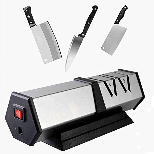 WJQQ Aiguiseur Couteaux de Cuisine Electrique Professionnel, Construction Ergonomique, Fond Antidérapant, Convient pour Lames Acier et Céramique (22.6 * 8.3 * 7.6cm)