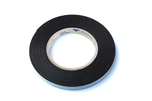 BONUS Eurotech 2BF42.61.0012/010A# Doppelseitiges Schaumstoffklebeband, Acrylklebstoff, Geschlossenzelliger Polyethylen, Länge 10 m x Breite 12 mm x Gesamtdicke 0,8 mm, Schwarz