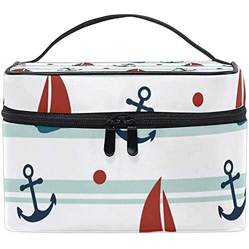 Reistas met zeilboot en multifunctionele tas met ritssluiting voor cosmetica.