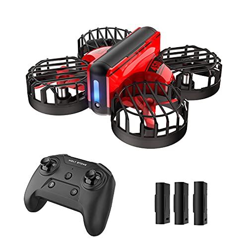 Holy Stone HS450 Mini Drohne für Kinder mit 3 Akkus lange Flugzeit, RC Quadrocopter mit Gestensteuerung, Höhenhaltemodus, One Key Start, 360° Rollen, Kopflos Modus Mini Drone für Anfänger Mädchen Rot