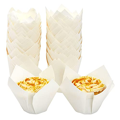 White Tulip Muffin Liners, Jumbo Cupcake Wrappers, Paper Baking Cups (100 Pack)