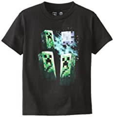 Minecraft Camiseta de Manga Corta Three Creeper Moon para Niños