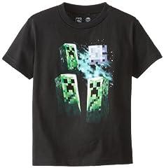 Minecraft Camiseta de Manga Corta Three Creeper Moon para Niños