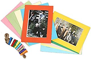 10pcs Colors Paper Frame Set with 10 Wooden Clip and 2M String, Wall Photo Frame Hanging Picture Album for Party, Wedding,...
