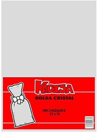 KADISA BOLSAS CELOFAN TRANSPARENTES PARA CELEBRACIONES, CUMPLEAÑOS, BODAS, COMUNIONES, DETALLES, REGALOS, FIESTAS, MESAS DULCES, PASTELERÍA (25X35CM)