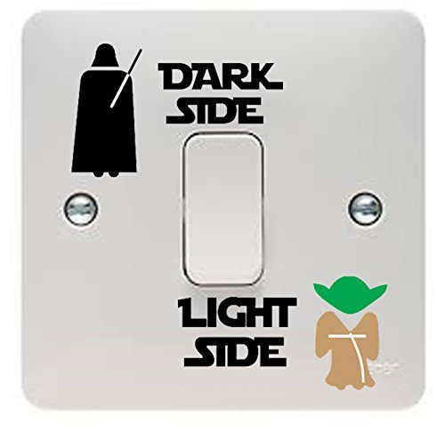 Pack of 3 - Star Wars Dark Side/Light Side Light Switch Vinyl Decal Sticker, Standard Size For Most UK Light Switches, Great for Any Star Wars or Yoda Fan, Even Better Present Or Gift