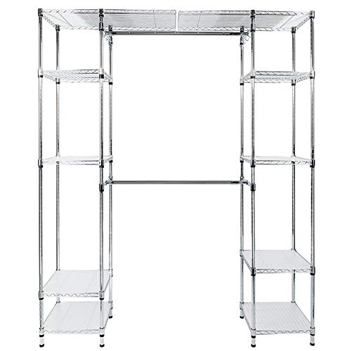 Custom Closet Organizer Shelves System Kit Expandable Clothes Storage Metal Rack Clothes Storage Organizer Closet – for Home, Dorm, Garage etc. – No-Tool Assembly
