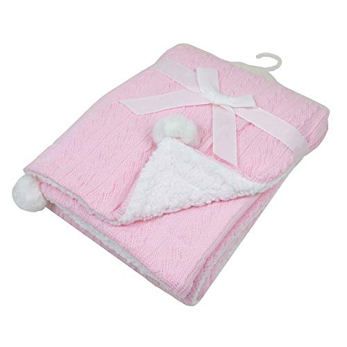 Thick Baby Blanket, 75 x 100cm Cable Knit Extra Soft and Warm Sherpa Fleece, Double Layers Infant Blanket for Pram or Crib Newborn - Pink, Blue, White, Grey Available