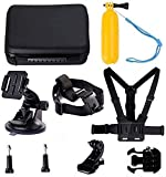 Navitech 8 in 1 Action Camera Accessory Combo Kit with Grey Case - Compatible with The AKASO V50 X Action Camera