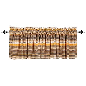 Valance Curtain, Salsa Beige Multi Stripe Pattern Valance, Extra Wide and Short Window Treatment for Kitchen Living Dining Room Bathroom Kids Girl Baby Nursery Bedroom – 72 x 16 Set of 2