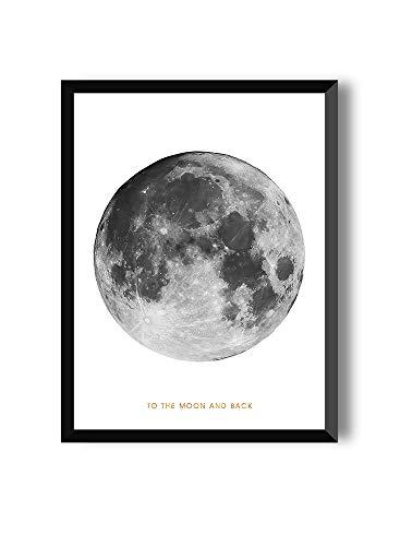 Kunstdruck zum Einrahmen als Wandbild/Poster mit Mond und Weltall, schwarz-Weiss Moon | Full Moon (30 x 40 cm)