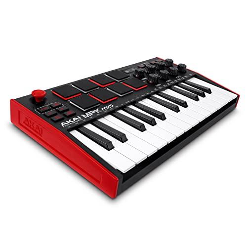 AKAI Professional MPK Mini MK3 - Teclado Controlador MIDI USB de 25 Teclas con 8 Drum Pads, 8 Perillas y Software de Producción Musical Incluido, Standard