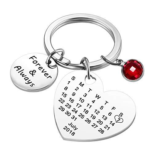 uwows Grabado personalizado personalizado Calendario fecha y mensaje llavero con piedra de nacimiento de acero inoxidable llavero y llavero aniversario regalo conmemorativo (Corazón-Plata)