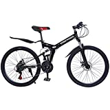 26 inch Full Suspension Mountain Bike, 21 Speed Folding Adult Bikes, High Carbon Steel Frame Non-Slip Dual Disc Brake Outroad Mountain Bicycle (from US. Black, Folded: 37x34x15in)