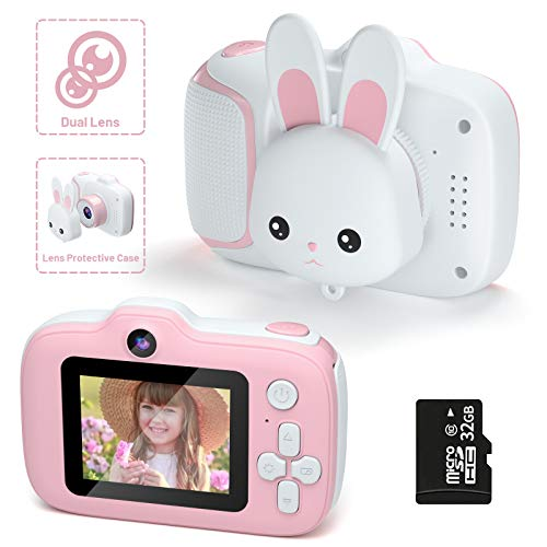 Kids Camera,HONEYWHALE Kid Digital Video Selfie Cameras 2.0 Inch IPS Screen Child Toddler Camera with 32GB SD Card,Best Birthday Toys Gifts for Girls Boys 3-12 Year Old(Pink)