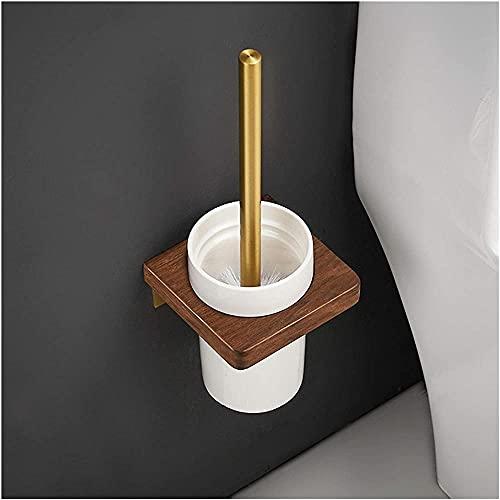 Cepillo de limpieza de baño, cepillo de baño exquisito, cepillo perforado, vaso de cerámica, soporte para cepillo de baño de aluminio