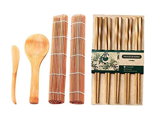 CARAVIAN – Set para Preparar Sushi - Kit Para Hacer Sushi en Casa, Ideal en Fiesta Familiar, Oficina, Camping, Regalo para los Amantes del Sushi, Bamboo Sushi Making Tool (Incluye 2 Tapetes, 5 Pares de Palillos Chinos, 1 Cuchara y 1 Espaciador de Arroz 100% de Bambú